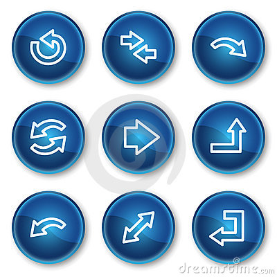 Arrows web icons set 1, blue circle buttons