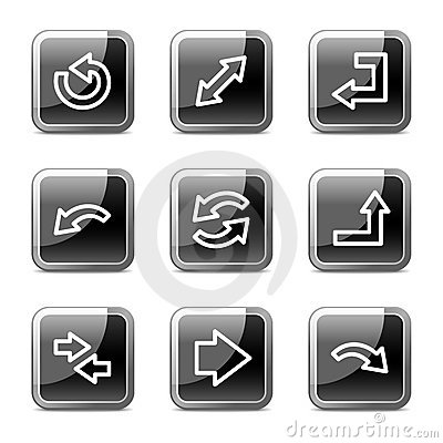 Arrows web icons, square glossy buttons series