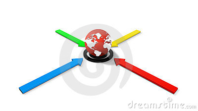 Arrows and a world globe