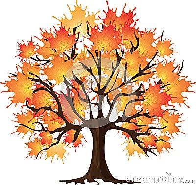 Art autumn tree. Maple. Vector illustration.