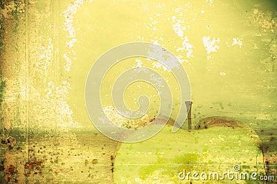 Art background green apple in grunge style