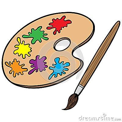 Art Brush And Palette Stock Vector - Image: 53519018