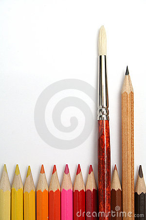 Art brush and simple pencil for plotting among colour pencils