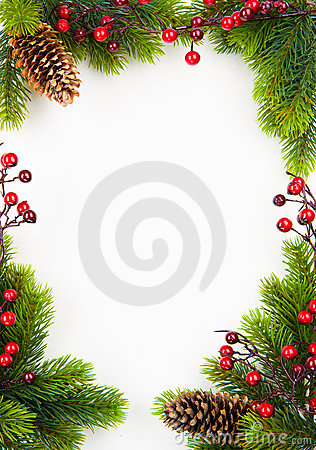 Free Art  Christmas Frame With Fir And Holly Berry Royalty Free Stock Image - 22232256