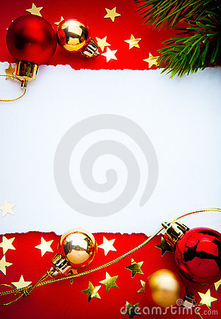 Free Art Christmas Frame With Paper On Red Background Stock Images - 22360604