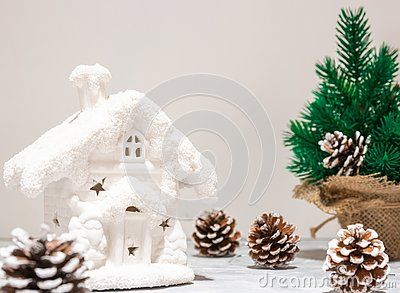 Art Christmas holidays composition on white wooden background with Christmas tree decoration and copy space for your Stock Photo