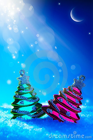 Art Christmas tree toy on blue night background