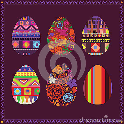 Art collection of easter eggs