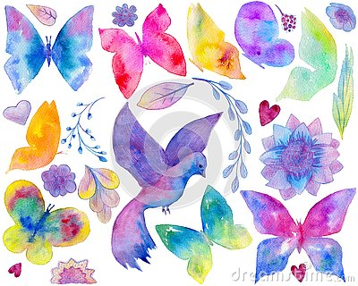 Art collection including butterfly, bird, floral ornament, flowers, leaf, hearts on the white background Stock Photo