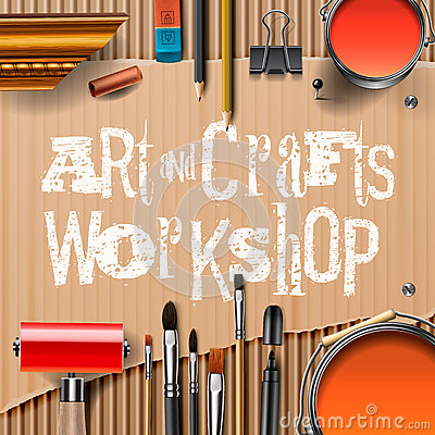 Art and crafts template with artist tools stock vector for Arts and crafts tools