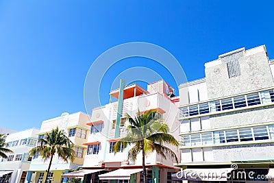 Art deco architecture of Miami Beach, Florida.