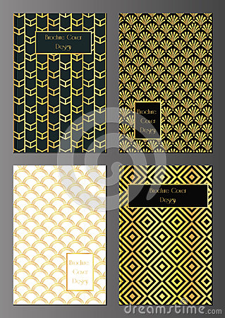 art deco brochure covers stock vector image 49286867. Black Bedroom Furniture Sets. Home Design Ideas