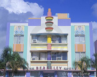 Art deco building in South Beach Miami, FL Editorial Photo