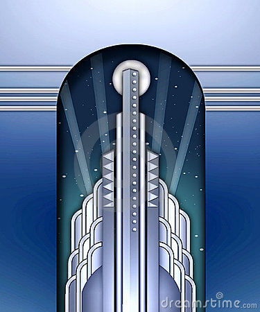 Free Art Deco Building W/spotlights Royalty Free Stock Photography - 644277