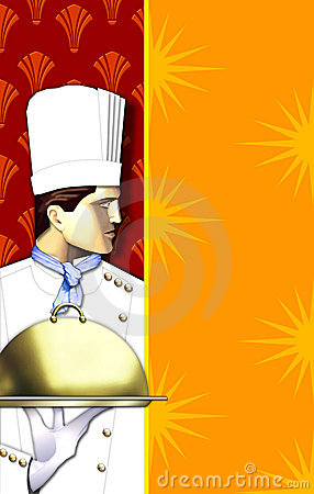 Free Art Deco Chef W/covered Dish Stock Photography - 559612