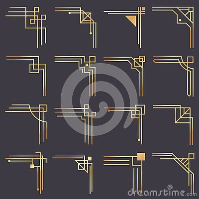 Art deco corner. Modern graphic corners for vintage gold pattern border. Golden 1920s fashion decorative lines frame Vector Illustration