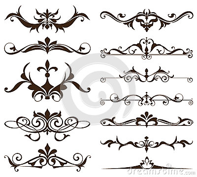 Free Art Deco Design Elements Of Vintage Ornaments And Borders Corners Of The Frame Isolated Art Nouveau Flourishes Simple Elements Stock Images - 88421214