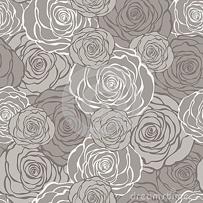 Free Art Deco Floral Seamless Pattern With Roses. Royalty Free Stock Images - 42004619