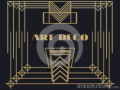 Art deco frame art deco geometric vintage frame retro for Miroir art deco 1930