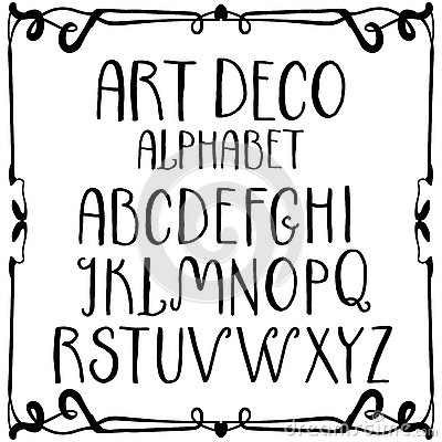 art deco alphabet vector font in outline style serif type letters and numbers stock vector image 86643390