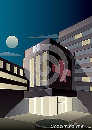 Art Deco Hospital Vector Illustration