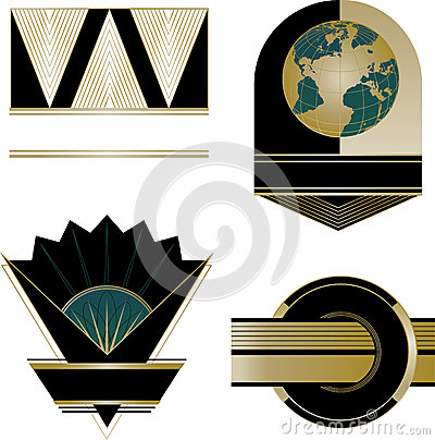 art deco logos and design elements stock photo image 35510140. Black Bedroom Furniture Sets. Home Design Ideas