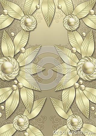 Art Deco Metallic Leaf background