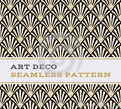 Free Art Deco Seamless Pattern Black White And Gold Colours 03 Stock Photo - 75740610