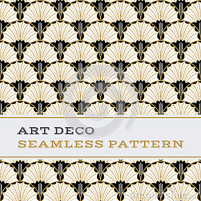 Free Art Deco Seamless Pattern  Black White And Gold Colours 04 Royalty Free Stock Photos - 85364278
