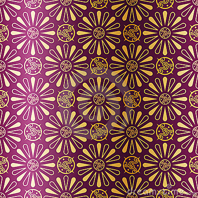 Art Deco seamless pattern with flowers