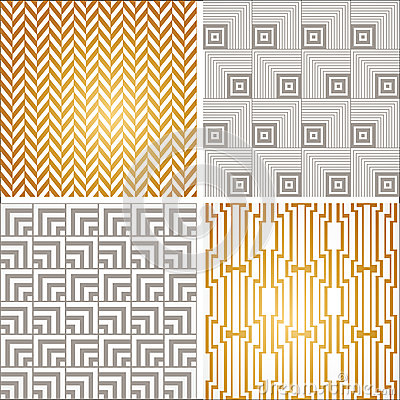 Free Art Deco Seamless Vintage Wallpaper Patterns Set Royalty Free Stock Image - 42004626