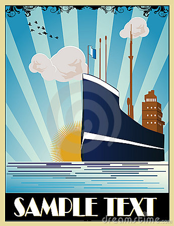 Art deco ship vector