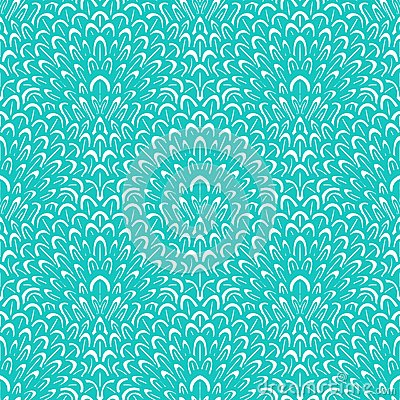Free Art Deco Vector Floral Pattern In Tropical Blue Stock Images - 36179784