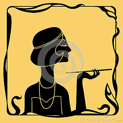 Art Deco Woman Profile Silhouette Stock Photo Image