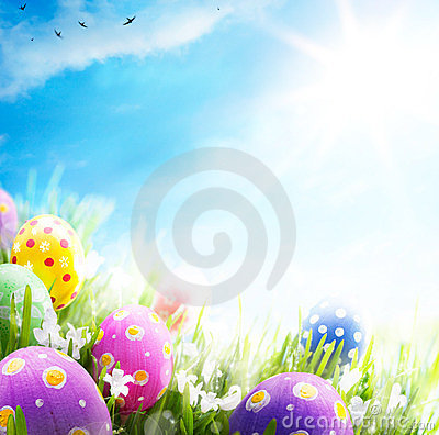 Free Art Easter Eggs Decorated Flowers Grass Blue Sky Stock Photo - 23364800