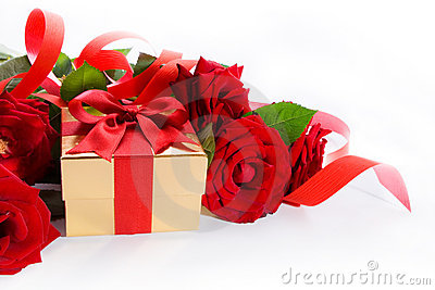 Art  gift box and red roses on white background