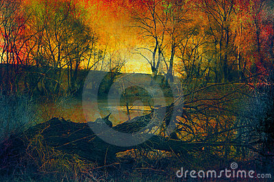 Art grunge landscape - fallen tree in the forest