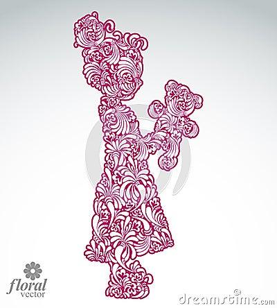 Free Art Illustration Of A Tiny Girl Holding A Teddy Bear. Cute Teena Stock Photos - 49796943