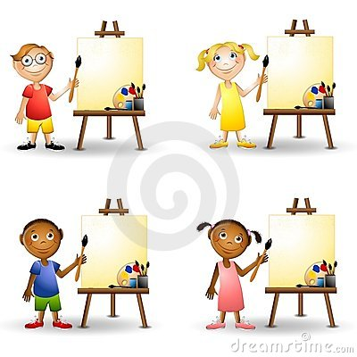 an illustration featuring an assortment of adorable little kids holding paintbrushes and standing beside paint easels - Kids Pictures To Paint