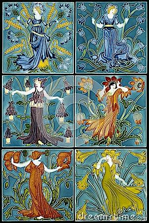 Free Art Nouvea Flower Fairies Glamorous Women Set Stock Photography - 45630882