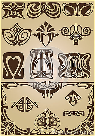 Art Nouveau elements and corners design ornament