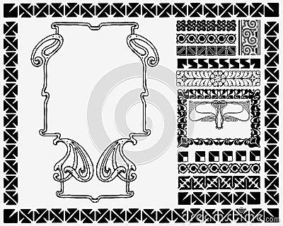 Art Nouveau frame and motifs.