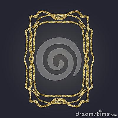 Free Art Nouveau Gold Glitter Decorative Rectangle Vector Frame For Design. Art Deco Style Border Stock Photos - 92745523