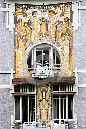 Art nouveau house front in Brussels