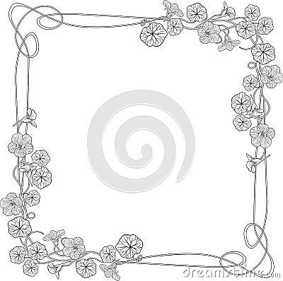 Art nouveau nasturtium flower frame