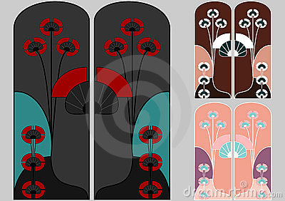 Art nouveau patterns in japanese style