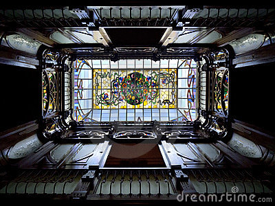 Art Nouveau Skylight - Spanish House Editorial Photo