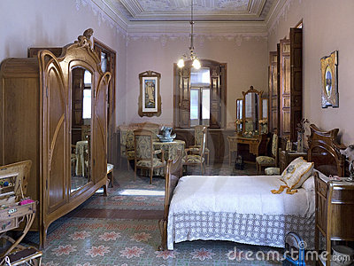Bedroom on Home   Editorial Photo  Art Nouveau Spanish Bedroom Interior