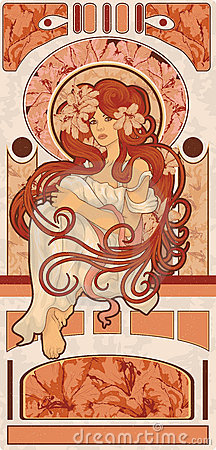 Art Nouveau styled woman with long detailed flowin