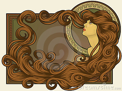 Art Nouveau styled woman s face with long hair